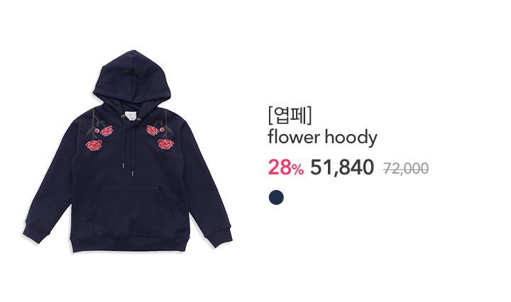 NEW_01.YUPPE] flower hoody_네이비